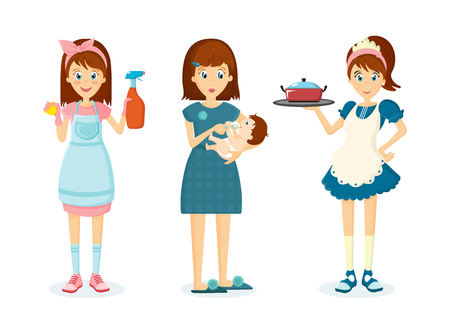 Housewife woman removes dust, feeds of child and prepares food. Illustration