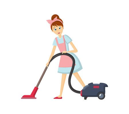 Woman housewife characters. Woman housewife removes dust with vacuum cleaner. Illustration