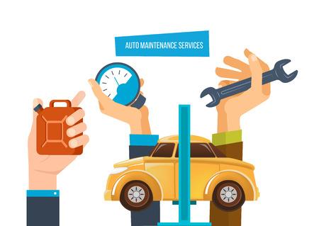 Auto maintenance services. Car diagnostic, auto maintenance test, diagnostics center. Illustration