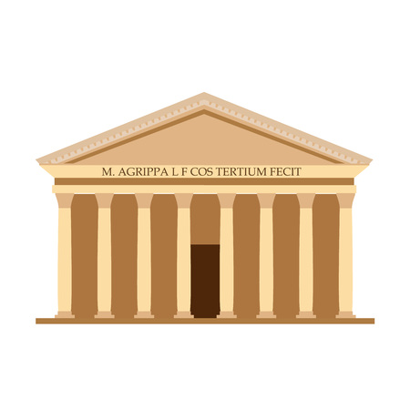 Pantheon Italy, temple of all gods Rome, monument centric-domed architecture. Ilustração