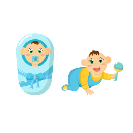 Newborn baby, children, in diaper with pacifier, crawling with rattle. Illustration