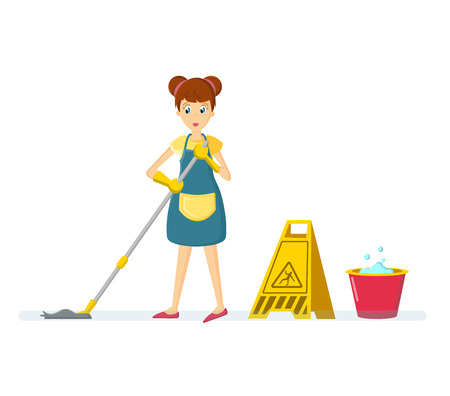 Woman housewife characters. Woman housewife washes floor, in room.