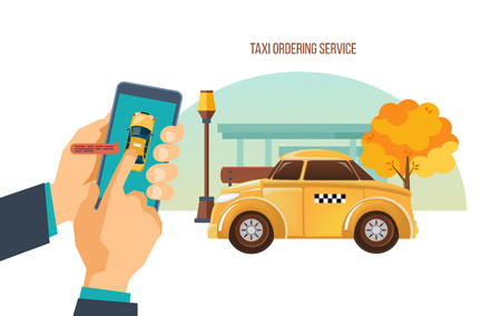 Taxi order service. Online service, call by phone, mobile application. Illustration