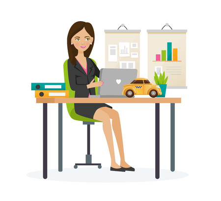 Taxi order service. Girl manager company of order taxi, responsible for growth and development company, carries out marketing researches, analysis indicators. Illustration character cartoon person.