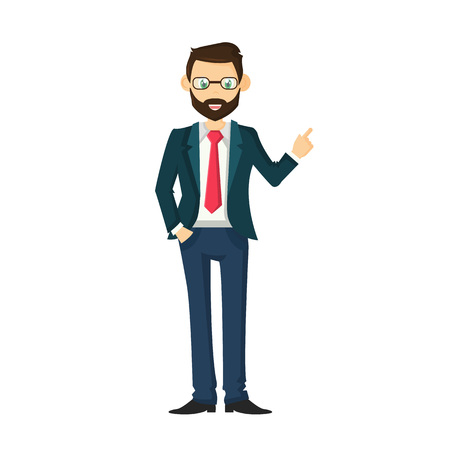 ambitious: Businessman leader, a successful entrepreneur. Solid male businessman, in a beautiful, strict, business suit, with glasses and a tie. Illustration