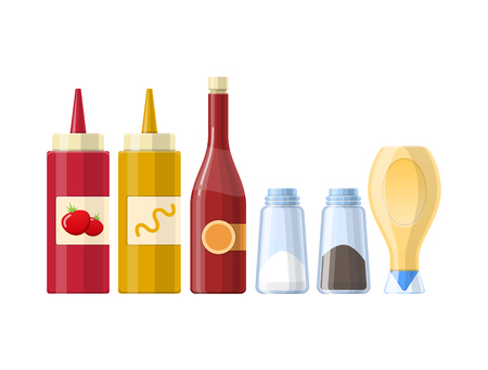 Set of sauces, spices and condiments, in different realistic bottles.