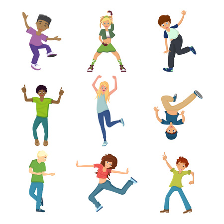 People dancing character in different poses concept. Energetic young guy, teenager, dancing, waving his arms, having fun, under modern music. Cartoon vector illustration isolated