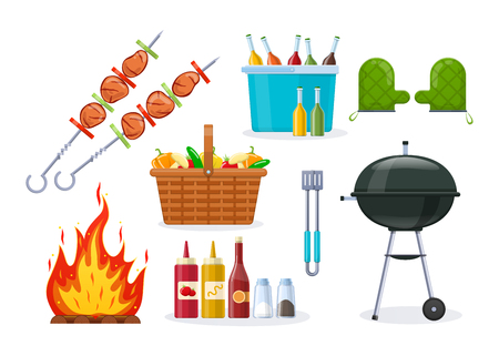 Set of different objects for modern barbecue party.