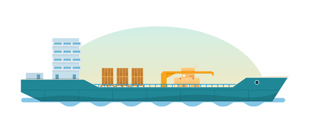 Cargo ship, tanker with containers and boxes. Loaded container ship. Illustration
