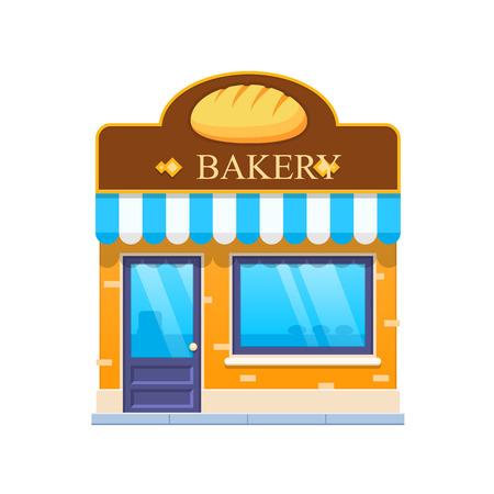Modern city bakery shop building facade. City baking shop building.