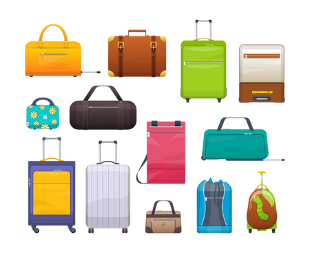 Collection different bags, suitcases, luggage. Plastic, metal, leather suitcases, bags.