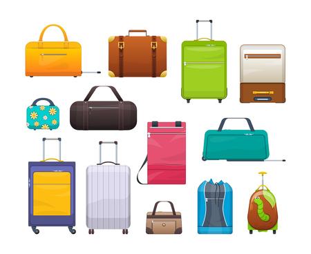 Collectie verschillende tassen, koffers, bagage. Plastic, metalen, lederen koffers, tassen. Stockfoto - 90028210