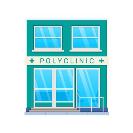 Modern city polyclinic building facade. City medical center building. Vectores