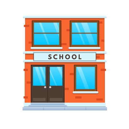 Modern city school building facade. City school building. Education, learning.