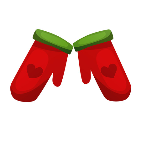 Beautiful festive red, warm Christmas mittens Santa Claus, gloves.