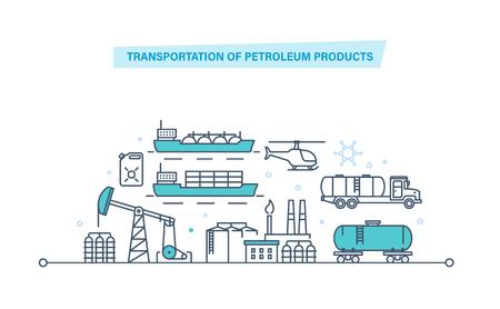 Transportation of petroleum products. Oil plant, production, gasoline, transportation, storage. 일러스트