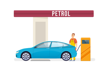 Gas station service concept illustration.