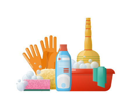 Set of cleaning supplies tools accessories.