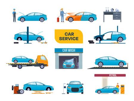 Set of car service. Car repair machines, equipment, washing, dyeing.