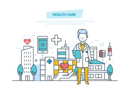 Gezondheidszorg en medische hulp. Medische instelling, ziekenhuis, gebouw, kliniek.