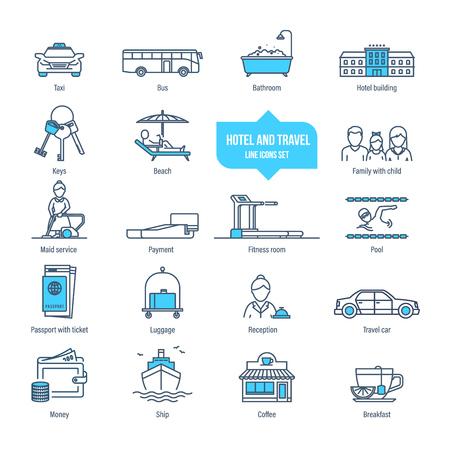 Hotel and travel thin line icons, pictogram, symbol set. Illustration