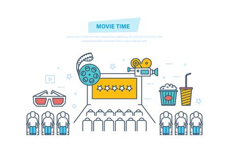 Movie time. Entertainment, cinema, movie theater. Audience in cinema hall.
