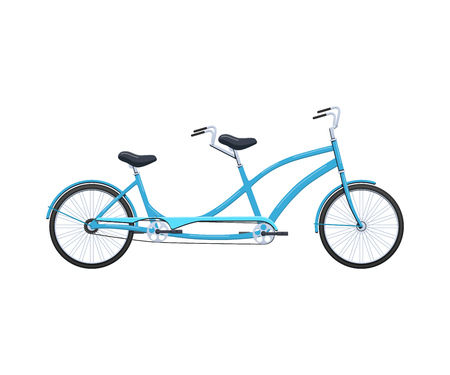 Summer retro tandem bicycle vehicle for transportation, city family bicycles. Illustration