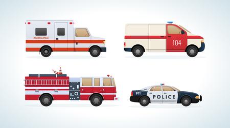 Voitures, véhicules de transport: service d'incendie, ambulance, service de secours, police. Banque d'images - 90839784