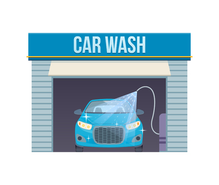 Autowäsche. Autowasch-Service-Center voll, Selbstbedienungseinrichtungen. Standard-Bild - 90841359
