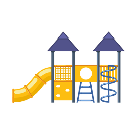 Childrens entertainment complex with slides, stairs, awnings, attractions, and recreation park vector illustration