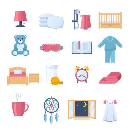 Set of furniture and interior objects for time to sleep vector illustration