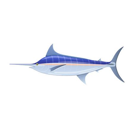 Sailfish blue marlin swordfish with long thin nose icon symbol vector illustration