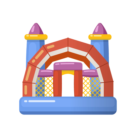 Gaming inflatable complex for kids having fun on inflatable playground. Stock Photo