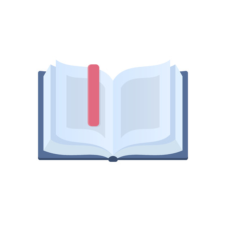 Open and interesting book with a bookmark education learning icon design vector illustration