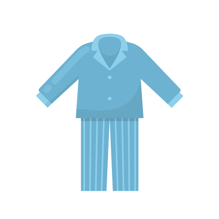 Mens pajamas nightgown sleeping shirt home clothes night suit icon design vector illustration Banco de Imagens - 91088658