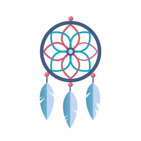 Ancient magic symbol of tribe spiritual amulet with patterns feathers vector illustration Çizim