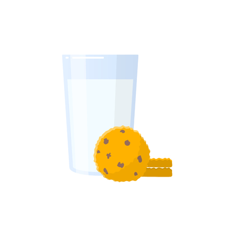Glass of milk with oatmeal cookies sweets lunch dessert food icon symbol design vector illustration