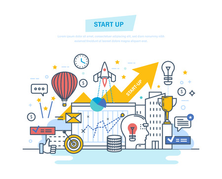 Startup, creative, modern information technology, business. Project development, professional growth.