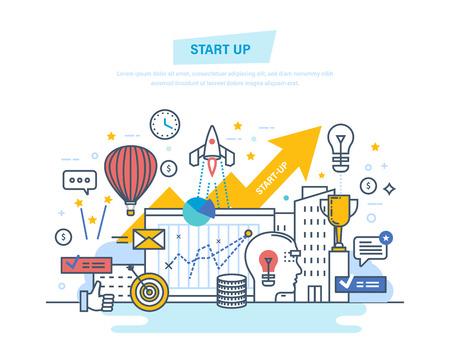Inicio, creativo, tecnología de la información moderna, negocios. Desarrollo de proyectos, crecimiento profesional. Ilustración de vector