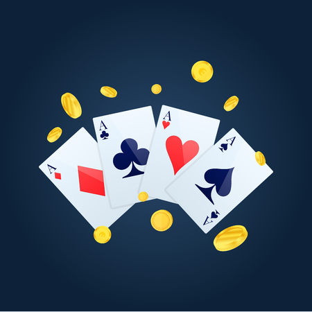 Casino chips, money, cards. Casino game of poker, other card.
