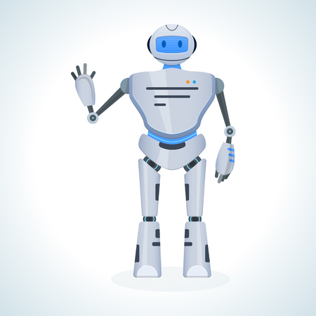 Electronic robot, chat bot, humanoid, welcomes raising his hand up.