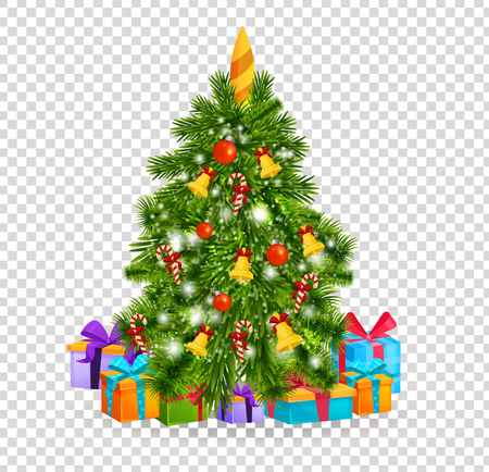 merry christmas beautiful realistic christmas tree on transparent background with balls of toys decorations - Christmas Transparent