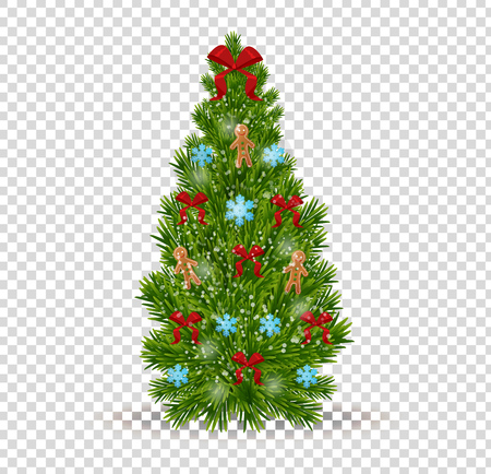 merry christmas beautiful realistic christmas tree on transparent background with colorful decorative bow snowflakes - Christmas Tree Transparent