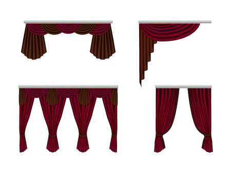 Set beautiful, silk, velvet curtains. Decorative interior items, realistic curtains. Stock Photo
