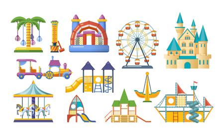 Children entertainment playground, recreation park. Place for children games.