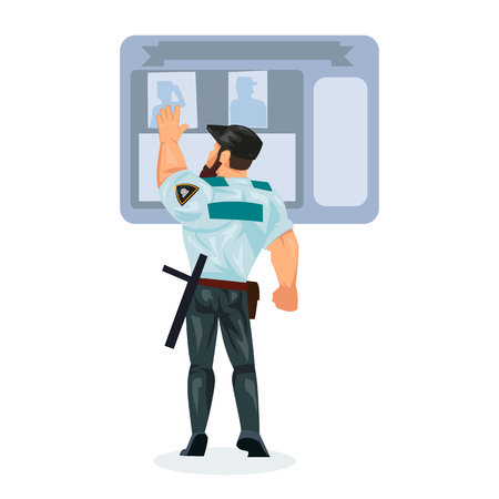 Policeman working cartoon character person in working situations. Policeman, in form, studies, investigates criminal cases, information board, data and information. Vector illustration.