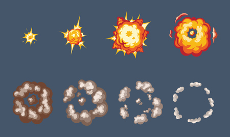Animation for game of the explosion effect, broken into separate frames. The effect of an explosion with smoke, flame and particles. Vector illustration isolated.