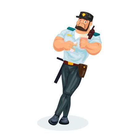 Policeman, lunch break, food, eating donut, drinking hot coffee drink. Illustration