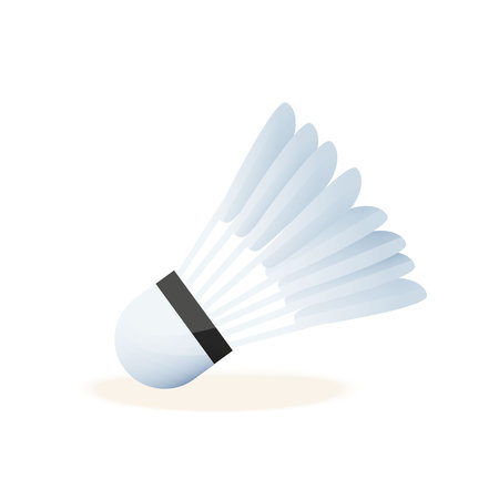Realistic shuttlecock for big tennis, badminton, close-up. Sports equipment, competitions, hobbies, entertaining mobile game. Vector illustration isolated