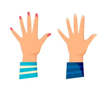 Men's and women s hands with gestures. Giving high five for great work. Friendship, symbol of great work achievement. Welcome signs, man, woman, control symbol, order. Vector illustration